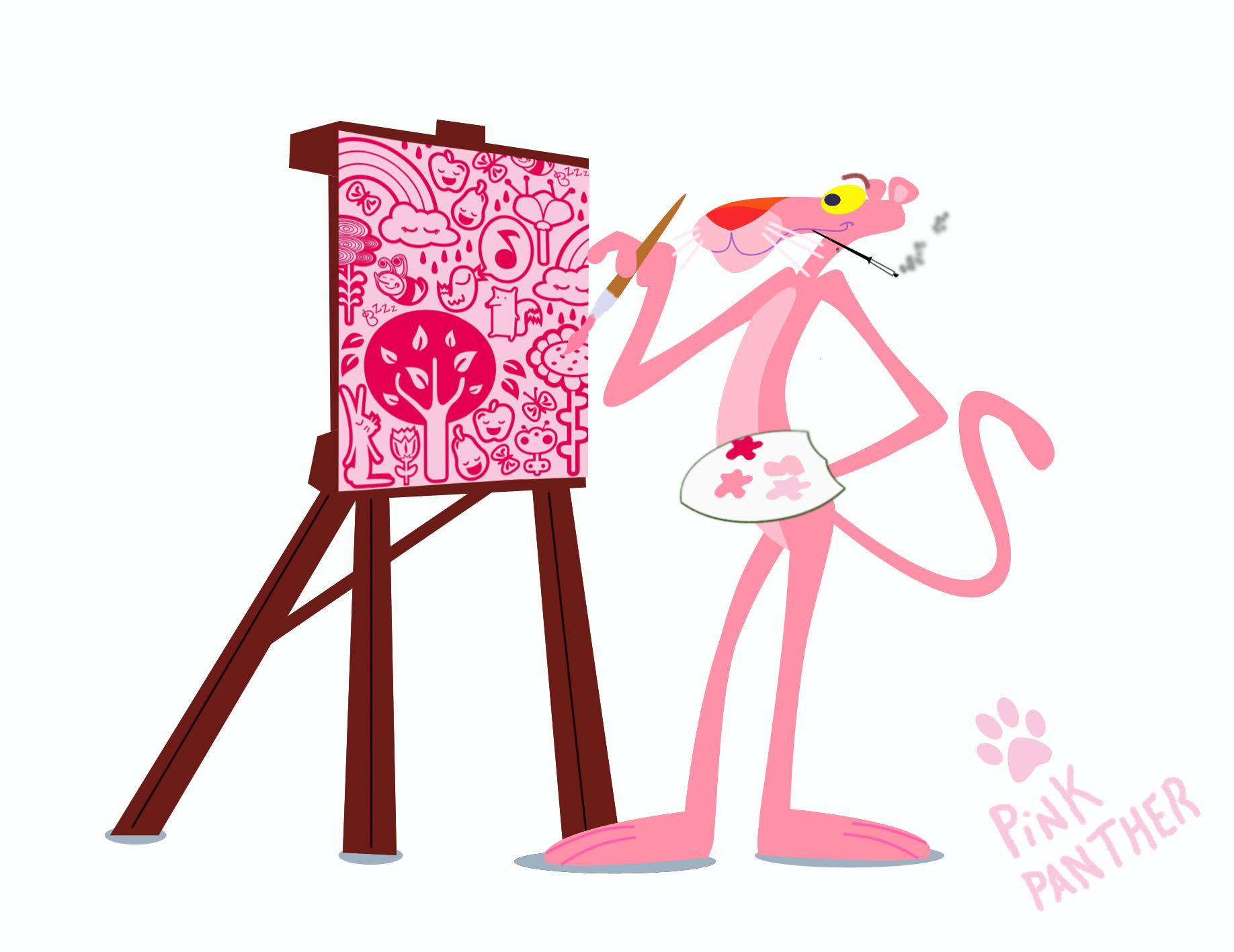 絵を描くピンク・パンサー